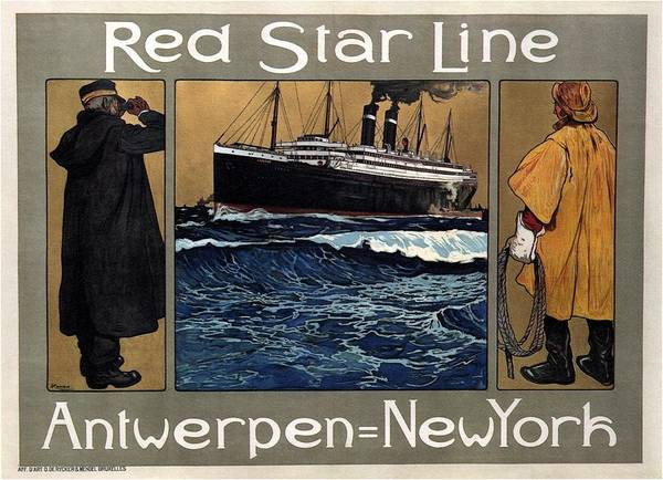 Belgium Mixed Media - Red Star Line - Antwepen - New York - Retro Travel Poster - Vintage Poster by Studio Grafiikka