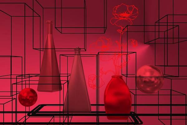 Digital Art - Red Still Life In Architectonic Space by Alberto RuiZ