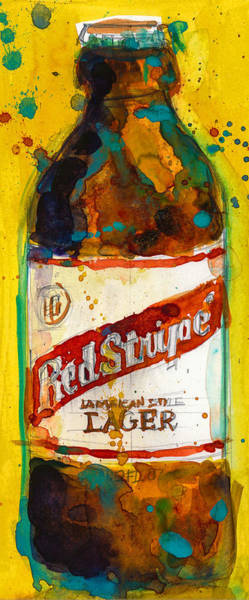 Bier Painting - Red Stripe Jamaican Style Lager by Dorrie Rifkin