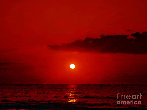 Mixed Media - Red Sunset by Jerry L Barrett