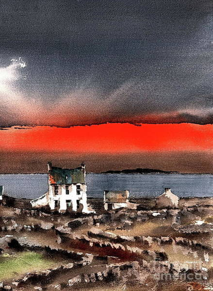 Painting - Red Sunset On Bungowla, Aran, Galway by Val Byrne