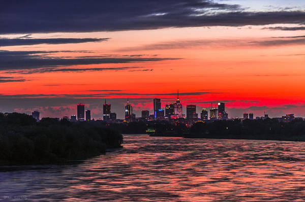 Photograph - Red Sunset Warsaw Skyline by Julis Simo