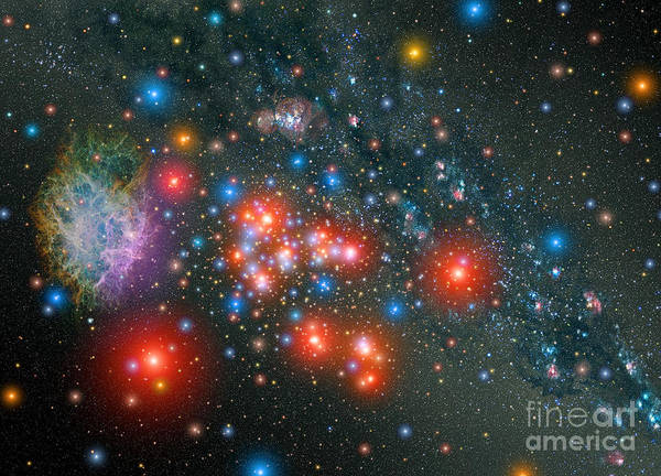 Painting - Red Super Giant Cluster With Associated by Celestial Images