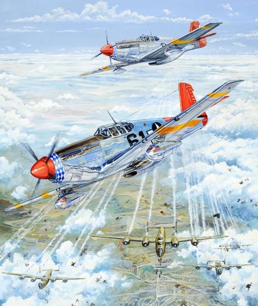 Wwii Painting - Red Tail 61 by Charles Taylor