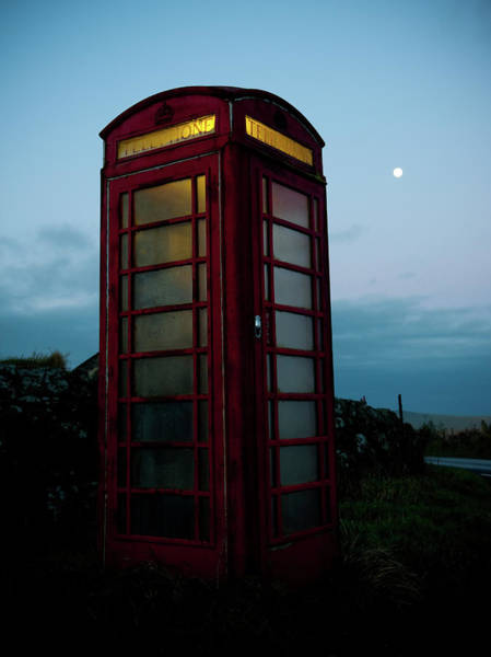 Photograph - Red Telephone Box And Moon by Helen Northcott