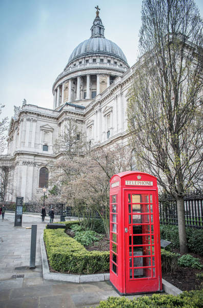 Photograph - Red Telephone Box And St. Paul's Cathedral, London by Alexandre Rotenberg