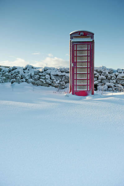 Photograph - Red Telephone Box In The Snow by Helen Northcott