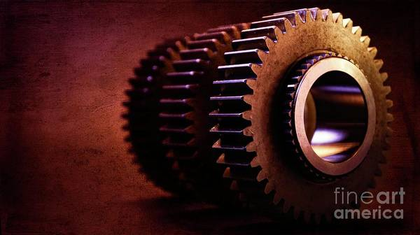 Wall Art - Photograph - Red Textured Gears by Chris Fleming