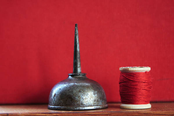 Wall Art - Photograph - Red Thread And Oil Can by Toni Hopper