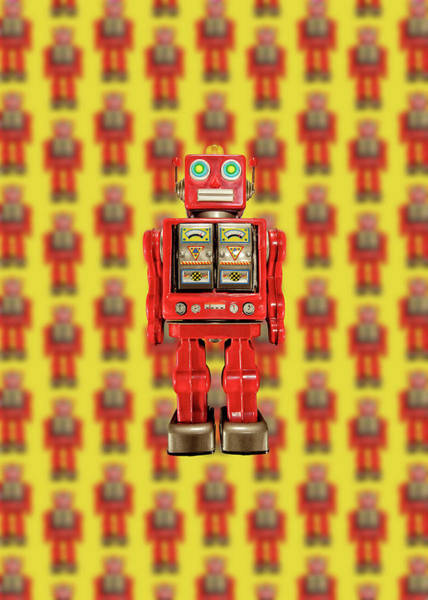 Wall Art - Photograph - Red Tin Toy Robot Pattern by YoPedro