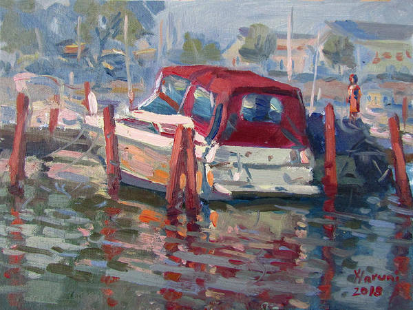 Wall Art - Painting - Red Top Boat by Ylli Haruni