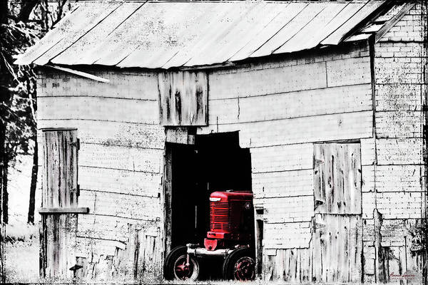 Photograph - Red Tractor And Crumbling Barn by Anna Louise