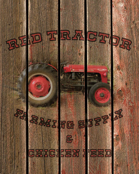 Red Tractor Farming Supply Art Print