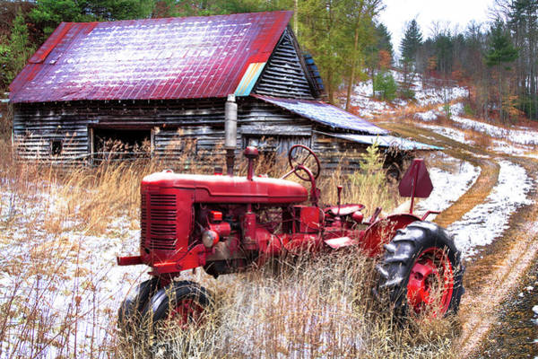 Wall Art - Photograph - Red Tractor In The Snow by Debra and Dave Vanderlaan