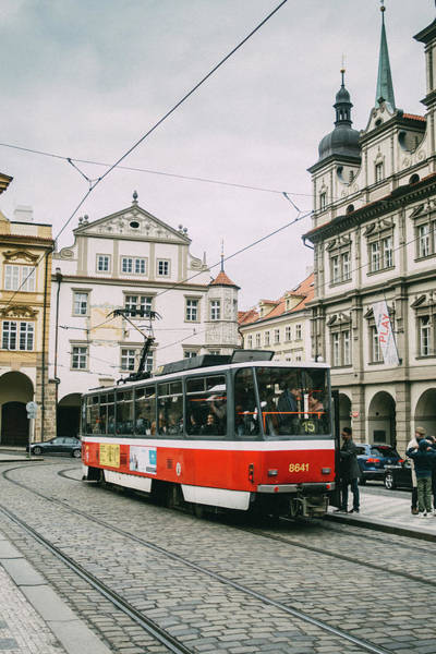 Wall Art - Photograph - Red Tram In Prague Old Town by Pati Photography