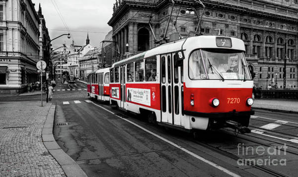 Photograph - Prague - Red Tram by Miles Whittingham