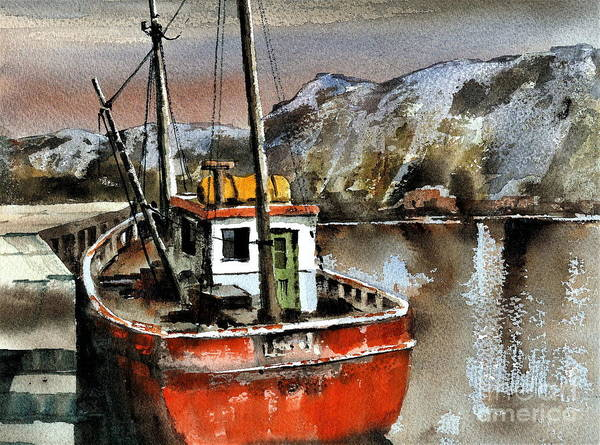 Painting - Red Trawler In Bunbeg, Donegal by Val Byrne