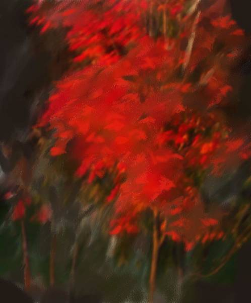 Red Tree Art Print by Claire Whitehead