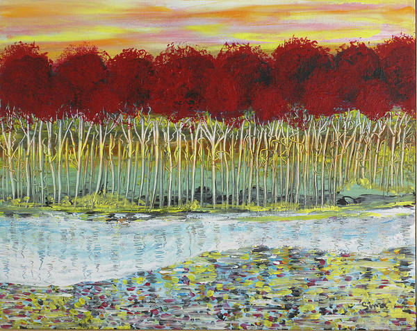 Red Trees At Water Art Print