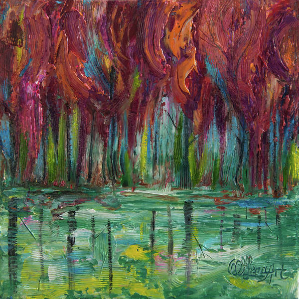 Painting - Red Trees Thick Impasto Abstract  Painting  by OLena Art - Lena Owens