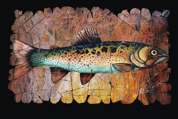 Painting - Red Trout Fresco by OLena Art - Lena Owens
