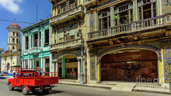 Wall Art - Photograph - Red Truck On The Street Of Havana, Cuba. by Viktor Birkus