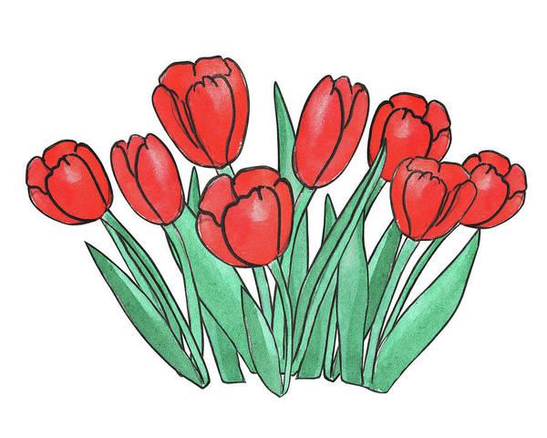 Carrot Painting - Red Tulips  by Irina Sztukowski