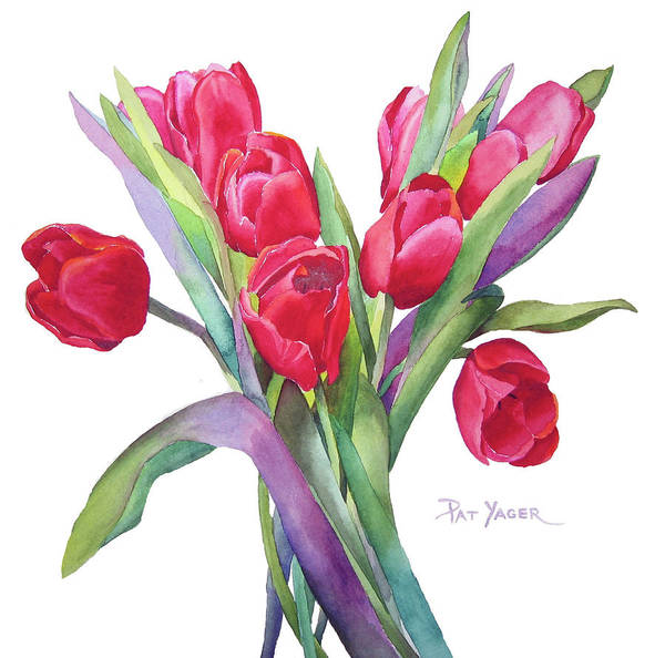 Wall Art - Painting - Red Tulips by Pat Yager
