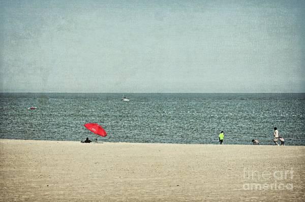 Wall Art - Photograph - Red Umbrella At The Beach - Sheboygan by Mary Machare