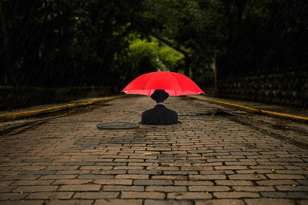 Wall Art - Photograph - Red Umbrella by Greg Waters