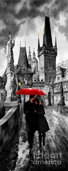 Mixed Media Mixed Media - Red Umbrella by Yuriy Shevchuk