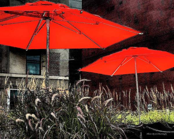 Red Umbrellas In Chicag Art Print