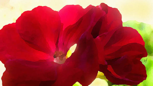 Digital Art - Red Velvet Twin Geraniums  by Shelli Fitzpatrick