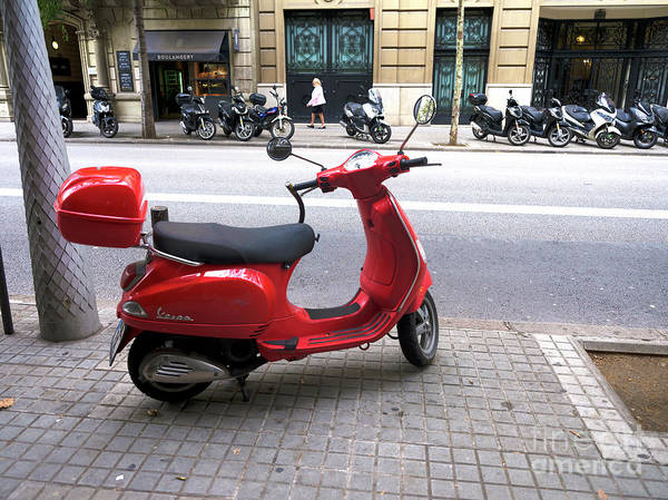 Photograph - Red Vespa In Barcelona by John Rizzuto