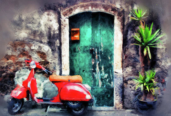 Southern France Painting - Red Vespa Scooter - 02 by Andrea Mazzocchetti