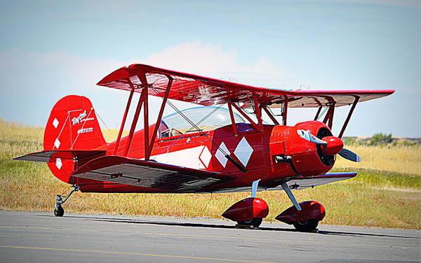 Photograph - Red Vintage Plane by AJ Schibig