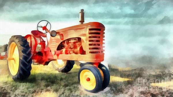 Vintage Tractor Painting - Red Vintage Tractor by Edward Fielding