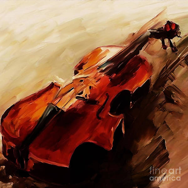 Bass Player Wall Art - Painting - Red Violin  by Gull G