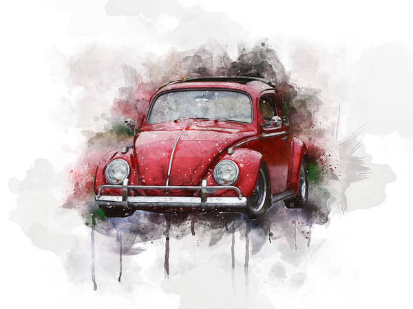 Wall Art - Digital Art - Red Vw Beetle Watercolor by Aged Pixel