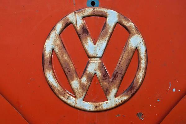 Photograph - Red Vw Bus Emblem by Jani Freimann