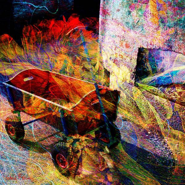 Digital Art - Red Wagon by Barbara Berney