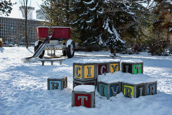 Wall Art - Photograph - Red Wagon Playground - Riverfront Park - Spokane by Daniel Hagerman