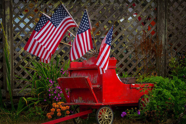 Red Wagon Wall Art - Photograph - Red Wagon With Flags by Garry Gay