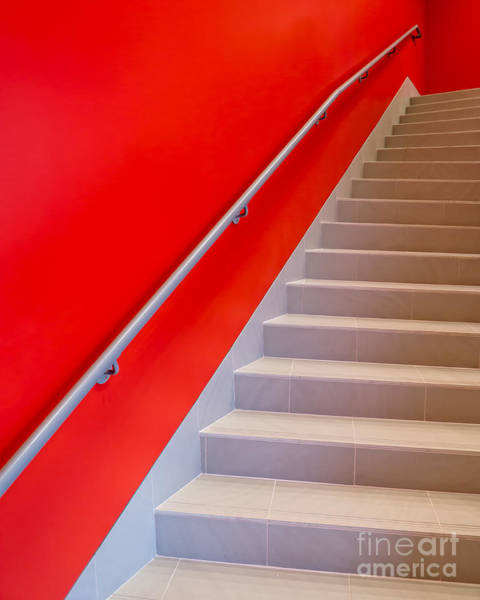 Primary Colors Photograph - Red Walls Staircase by Edward Fielding