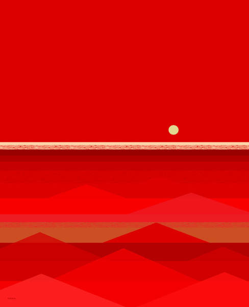 Digital Art - Red Waves by Val Arie