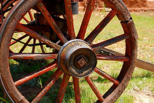 Wagon Wheel Photograph - Red Wheels by David Lee Thompson