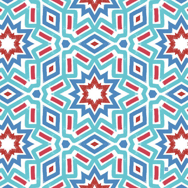 Wall Art - Digital Art - Red White And Blue Fireworks Pattern- Art By Linda Woods by Linda Woods
