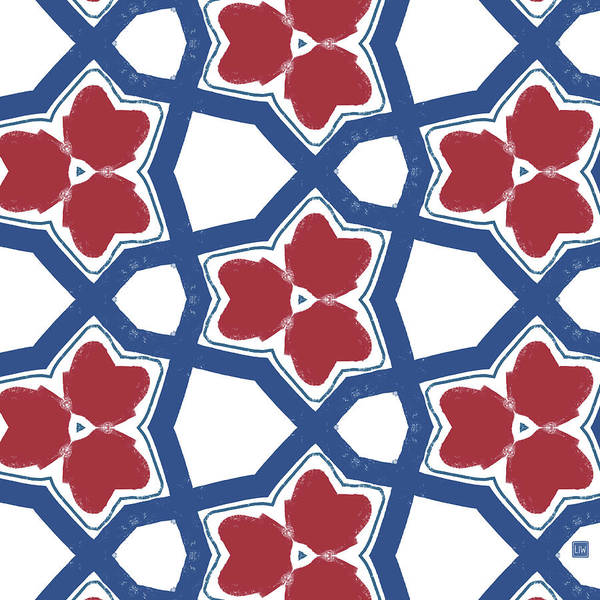 Wall Art - Digital Art - Red White And Blue Floral Motif- Art By Linda Woods by Linda Woods