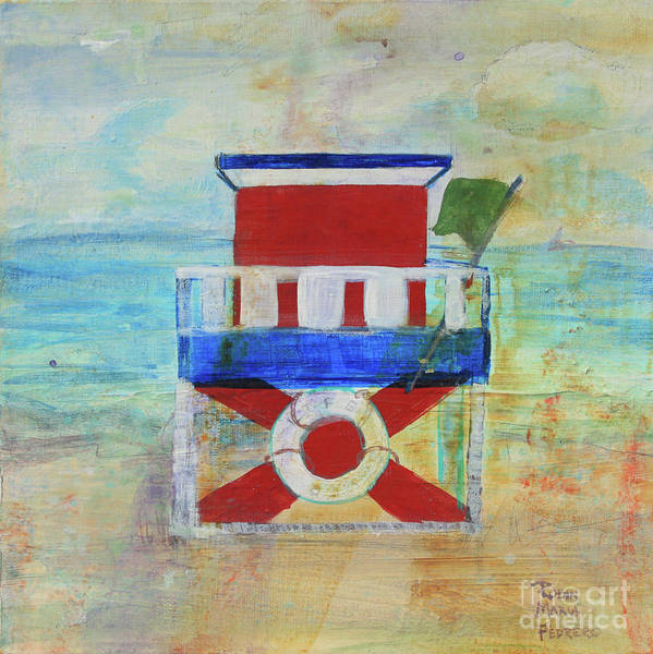 Painting - Red White And Blue Life Guard Station by Robin Maria Pedrero