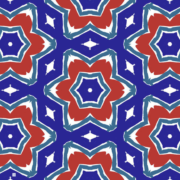 Wall Art - Digital Art - Red White And Blue Star Flowers 1- Pattern Art By Linda Woods by Linda Woods